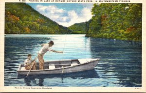Virginia Fishing In Lake At Hungry Mother State Park