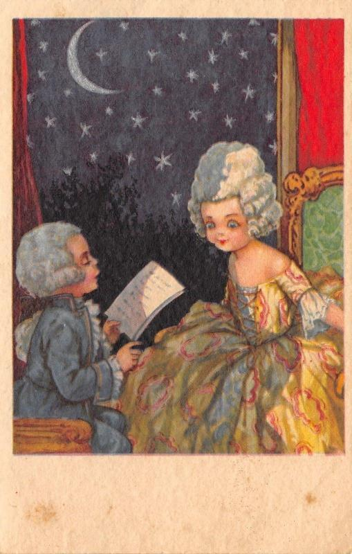 A Bertiglia~Romantic Boy Reads Poetry Under Moon & Stars~Regency Kid Couple~Uns