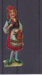 Paper Cutout,Girl holding bouquet of flowers and basket, 00-10s