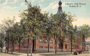 Buffalo New York~Lafayette High School~Man on Sidewalk by Street Sign~c1910 Car