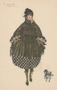 ART DECO ; Female in Brown & Black Coat, Small dog, 1910-20s