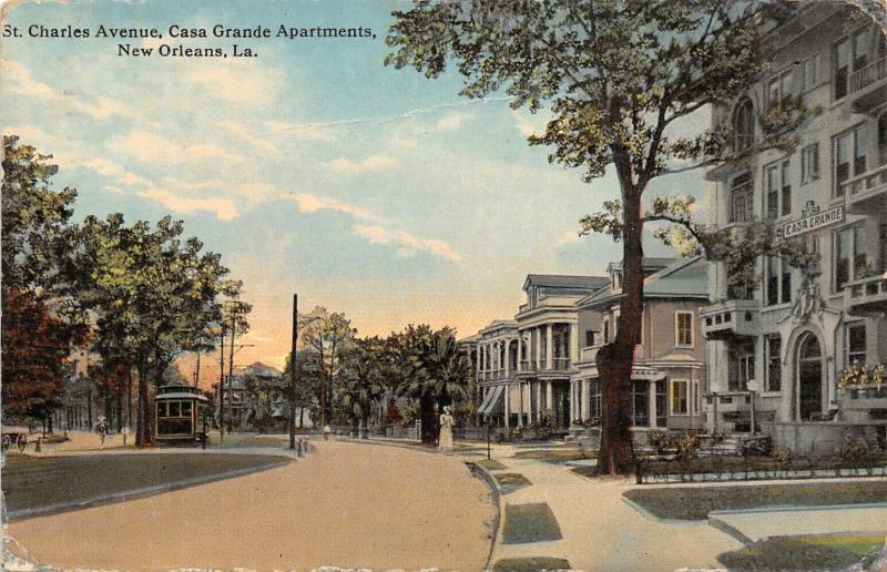 New Orleans LA~St Charles Avenue~Trolley Stops at Casa Grande Apartments~c1914