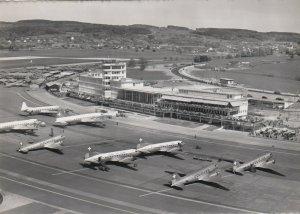 RP: ZURICH , Switzerland , 1940-60s ; Prop Airplanes at Airport ; #2