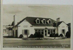 1940s RPPC Greyhound Restaurant Bus Station Wytheville VA Street View Postcard