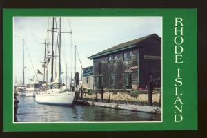 Newport, Rhode Island/RI Postcard, Boats Docked At Bannister's Wharf