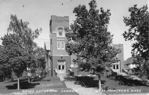 West Point Nebraska~Grace Lutheran Church~Neighborhood~1941 Real Photo~RPPC