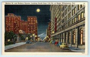 WILMINGTON, Delaware DE ~ Night Moon MARKET STREET Rodney Square 1940s  Postcard
