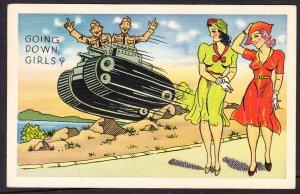 Going Down Girls ? Comic WWII linen - Ebert - 1941