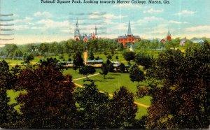 Georgia Macon Tattnall Square Park Looking Towards Mercer College 1942 Curteich