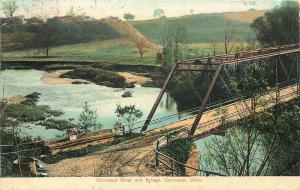 Conneaut Ohio~Thru Truss River Bridge~Railing Sale Sign~Pipe on Road Curve~1909