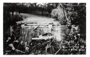 D77/ Troy New York NY RPPC Postcard c50s Ruin of Covered Bridge Fire Disaster