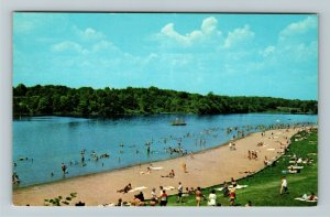 Richmond IN- Indiana, Bathing Beach and Lake, Whitewater, Chrome Postcard
