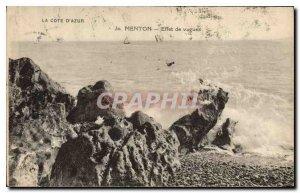 Old Postcard Menton Effect of Waves