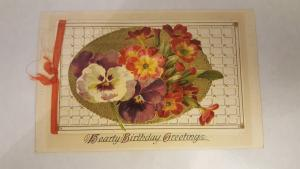 Antique Embossed Flowers Fold out - Hearty Birthday Greeting