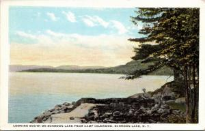 Looking South on Schroon Lake from Camp Idlewood, NY Vintage Postcard J07