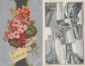 Greetings From Southend On Sea Metallic Floral 2x Old Postcard