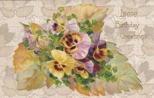 BIRTHDAY, PU-1910; Greetings, Bouquet of Pansies