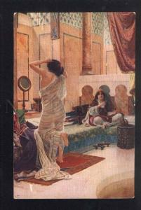 042433 Semi-Nude SLAVE after Bathing HAREM by ERNST old LAPINA