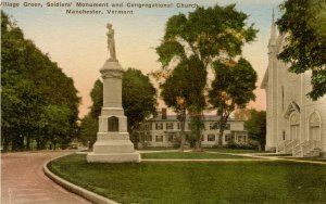 VT - Manchester. Village Green, Soldiers' Monument, Congregational Church