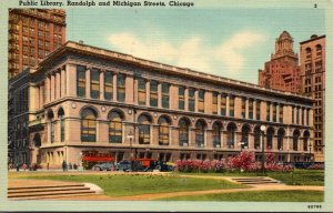 Illinois Chicago Public Library Randoolph and Michigan Streets 1952