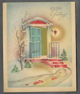 VINTAGE 1940s WWII ERA Christmas Greeting Holiday Card GOLD FOIL Front Door Snow