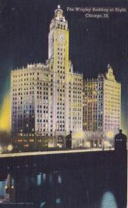 Illinois Chicago The Wrigley Building At Night