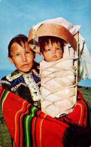 Arizona Navajo Indian Mother With Baby On Cradle Board 1959