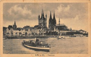Koln am Rhein Panorama Cathedral River Boats Postcard