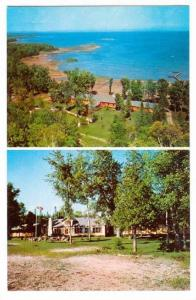 2 View Postcard, Hide-Away Lodge, North Channel, Kagawong, Manitoulin Island,...