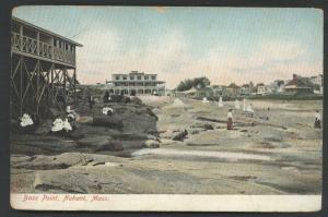Bass Point Nahant Massachusetts Rocky Coast People Beach Postcard