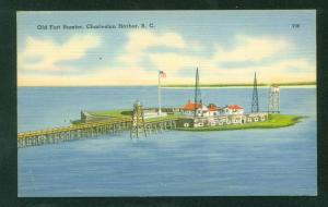 Old Fort Sumter Charleston Harbor South Carolina SC Vintage Linen Postcard