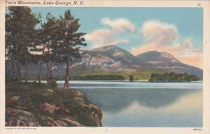New York Lake George The Twin Mountains 1953