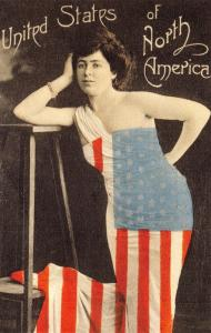 Postcard USA, Woman Draped in an American Flag, Stars and Stripes Repro Card