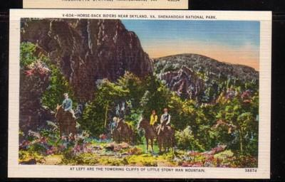 Virginia Postcard Skyland Horseback  Little Stony Man Mtn