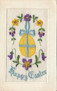 EMBROIDERED, 00-10s; Happy Easter, Gold Egg tied with blue ribbon, purple flower