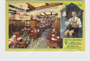 PPC POSTCARD OHIO CLEVELAND HERMAN PIRCHNER'S HOFBRAU INTERIOR VIEW DINING ROOM