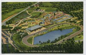 Southern States Fair Ground Aerial View Charlotte North Carolina linen postcard