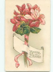 Very Old Foreign Postcard BEAUTIFUL FLOWERS SCENE AA4843