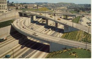Los Angeles, California/CA Postcard, Harbor Freeway, 1950's?