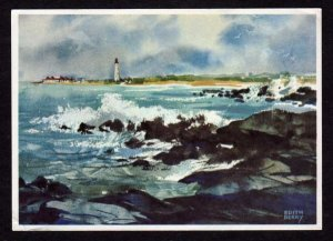 NJ Cape May Point Light House Lighthouse New Jersey Artist View Postcard PC
