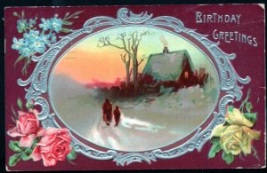 Birthday Greetings with Roses Blue Flowers Winter Scene Embossed - pm1914 - DB
