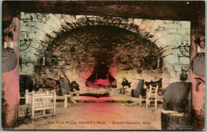 GRAND CANYON Fred Harvey Postcard Fire Place, Hermit's Rest HAND-COLORED #1077