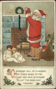 Christmas Santa Claus Filling Stockings Sleeping Children TUCK 549 Postcard