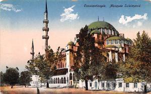 Turkey Old Vintage Antique Post Card Mosquee Suleimanie Constantinople Unused