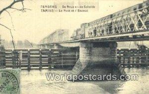 De Brug en de Schelde Temsche, Belgium 1920 Stamp on front