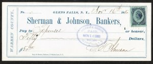 Sherman & Johnson Bankers – Glens Falls NY – 1880 check