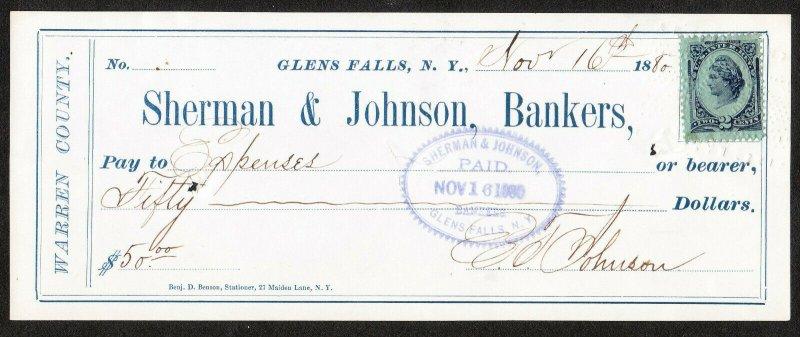 Sherman & Johnson Bankers – Glens Falls NY – 1880 check