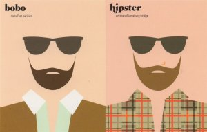 French Vs American Facial Hair Beard Bobo Hipster Comic Postcard