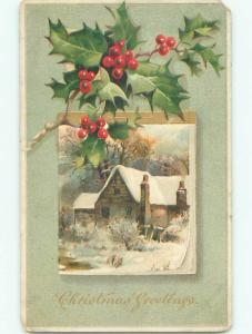 Pre-Linen christmas SNOW-COVERED HOUSE WITH HOLLY k1104