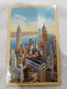 Antique/Vintage Postcard, The Financial Center of the World, New York City